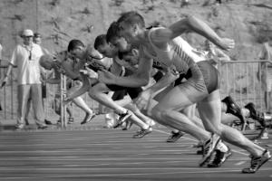Beginn eines Rennens als Analogie für den Beginn einer Präsentation