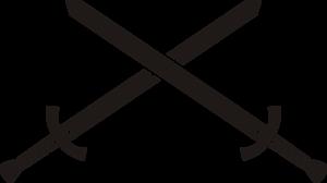 Zwei Schwerter, die sich kreuzen als Analogie für die Frage, was besser ist: PowerPoint oder Prezi